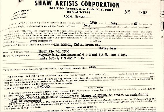 Coltrane Paperwork